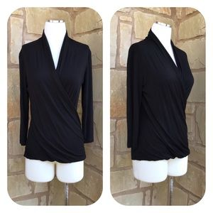 Vince Camuto Black Faux Wrap 3/4 Sleeve Ruched Top